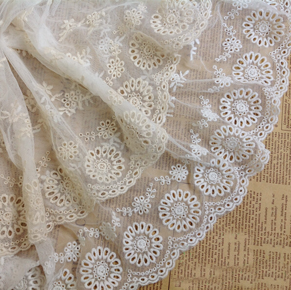 Pastoral Cotton Gauze Soluble Embroidery Sewing Lace Curtain Clothing Trimming