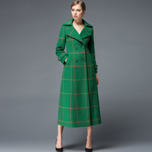 2016 Winter Slim Plaid Cashmere Overcoat Fashion Elegant Long-Sleeve  Plus Size Long Trench Coat Women Double Breasted Outerwear