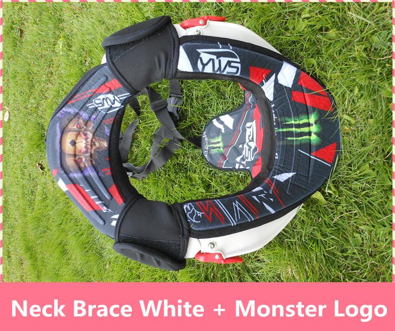 Prix pour Moto Cou Brace bretelles lumière poids plein forte protecteur Motocross moto d'équitation cou garde blanc + monstre Logo
