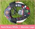 Motocicleta Neck Brace tirantes peso ligero fuerte protector de Motocross moto montando guardia cuello blanco + Logo monster