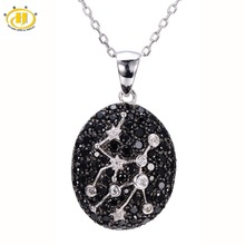 Hutang 2 61ct Black Spinel White Topaz Pendant Solid 925 Sterling Silver Necklace Virgo Constellation Birthday
