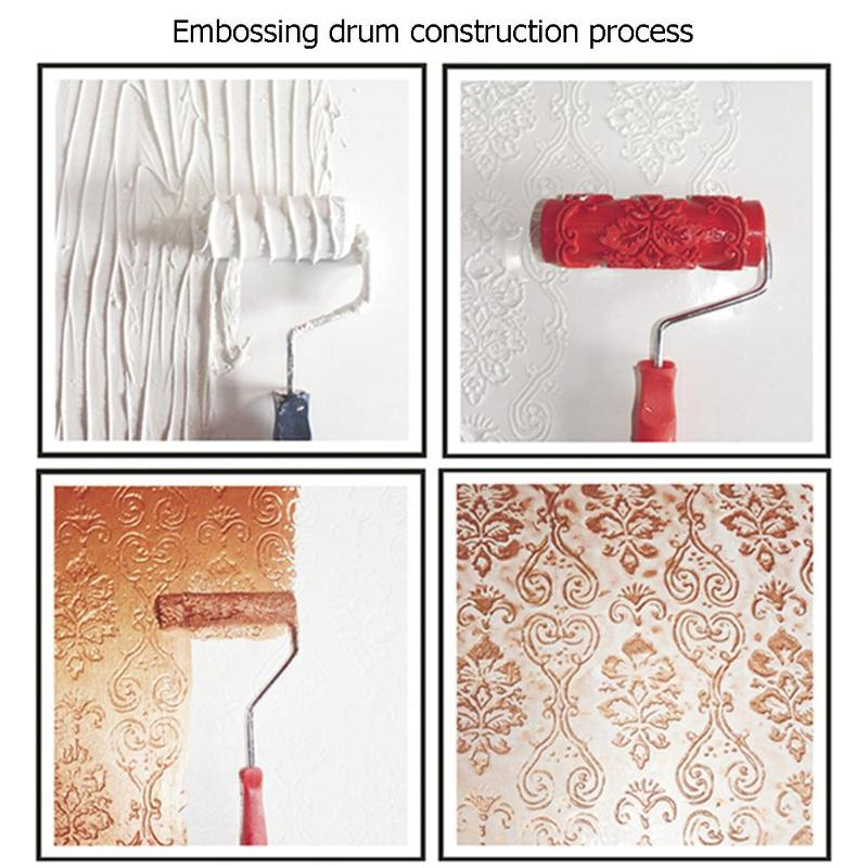 7 Inch Rubber Roller Embossed Texture Pattern Paint Roller Home Decoration Paint Brush Background Wall Tool Red