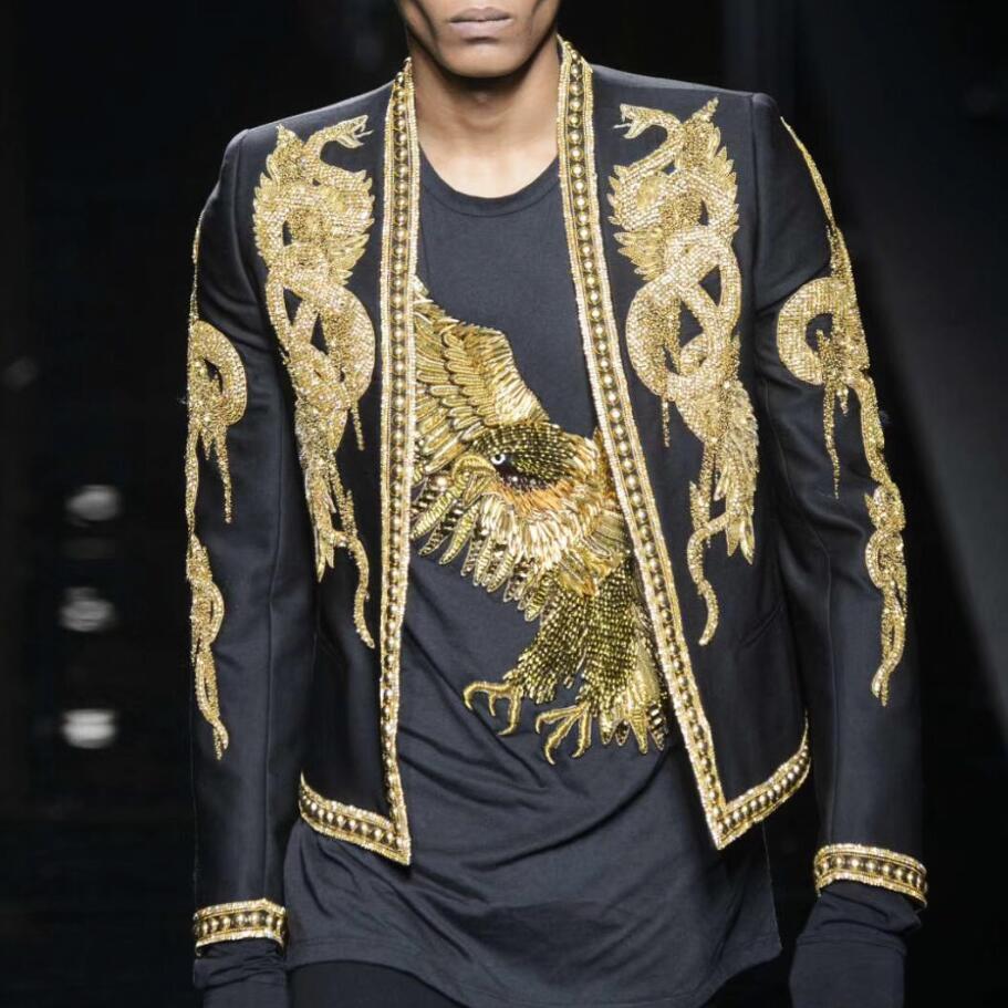 840ccaa54 Blazer hecho a mano para hombre, trajes, chaqueta, cuello plano ...