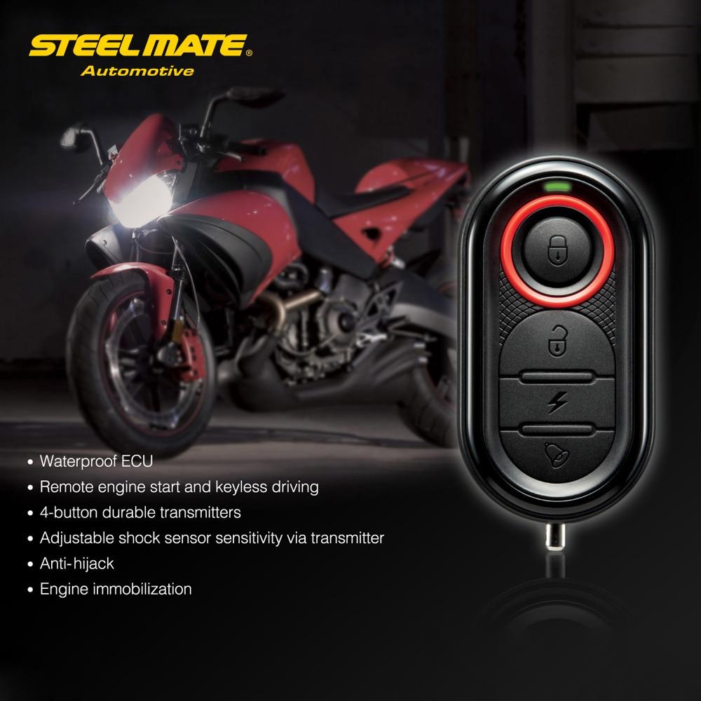 Steelmate 986E 1 Way motorkerékpár lopásgátló riasztórendszer Távoli motorindítás és immobilizálás mini adóval