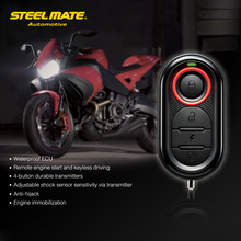 Steelmate 986E 1 Way Motorcycle Anti Theft Security Alarm System Remote Engine Start And Immobilization with Mini Transmitter
