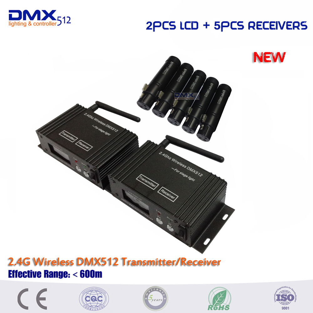 New style 7Pcs lot Communication Distance 500M Wireless DMX512 LCD Sender Transmitter And Receivers 2 4G