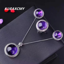 KJJEAXCMY fine jewelry Amethyst jewelry set bare stone size round 925 sterling silver platinum  factory direct sales