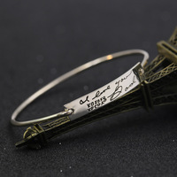 Stamped Signature 925 Solid Silver Bracelets & Bangles for Female Personalized Handwriting Charm Bracelets Wholesale