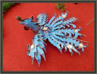 Blued Phoneix Miao Silver Phoneix Hair Stick Hanfu Accessories Traditional Antique Pinach Artwork Palace Accessories