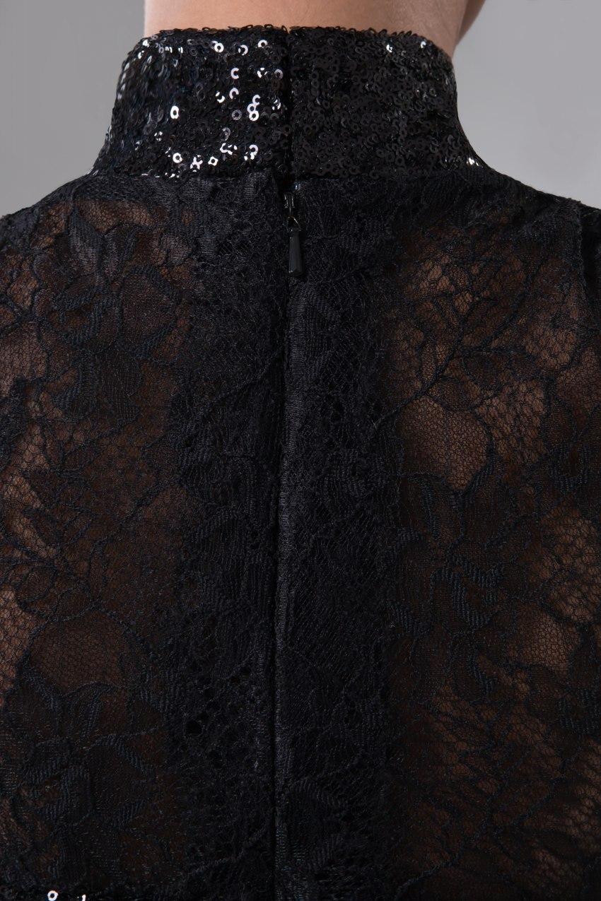 Schwarz Robe Spitze Soiree Neck Pailletten Abendkleider De High Vestido Festa Formale Lang 2019 fZx4qHxXw