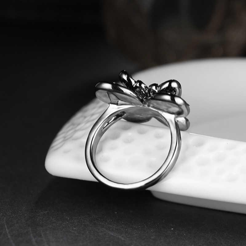 Бабочка Мода Винтаж Панк форма кольца для женщин с черным кубическим цирконием кольцо для подарки для лучшего друга