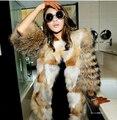 Luxury Women's Winter Warm Natural Fur Jacket Female Whole Real Fox Fur Coat Ladies Long Genuine Fur Red Fox Furs Coat Woman