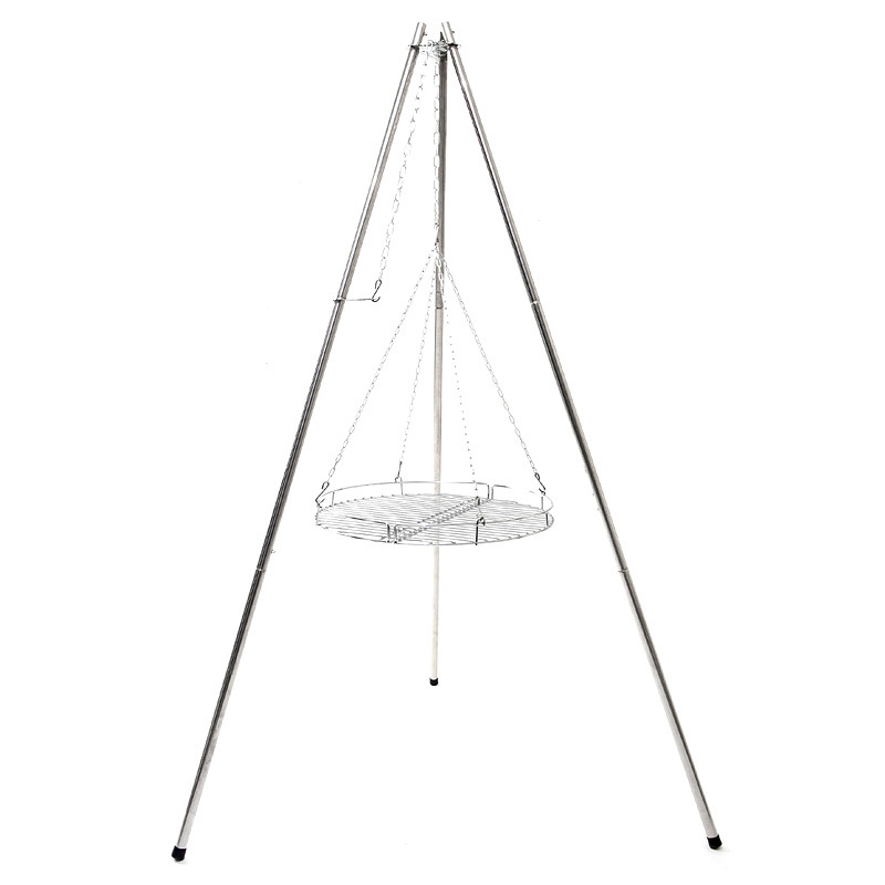 Outdoor Large Tripod Stainless Steel Barbecue Rack With Baking Net Camping Dinner BBQ Bonfire Hoist Bracket