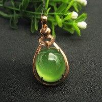 LANZYO 9K Rose Gold Natural Green Prehnite Pendants Wedding Ring For Women Wholesale Gift New Hot