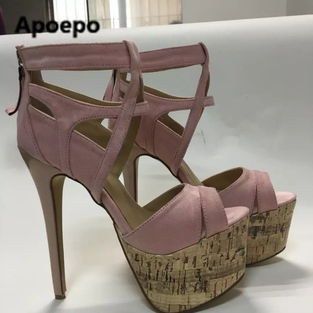 Apoepo brand 2017 gladiator sandals pink mixed colors women sandals platform high heels shoes women buckle summer pumps size 42 phyanic 2017 gladiator sandals gold silver shoes woman summer platform wedges glitters creepers casual women shoes phy3323