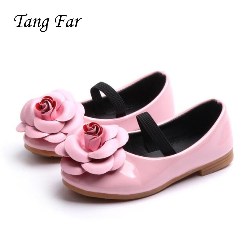 Spring New Children's Shoes Girls Flowers Leather Shoes Hot Fashion Princess Flat Shoes For Big Girl Kid Casual Shoe