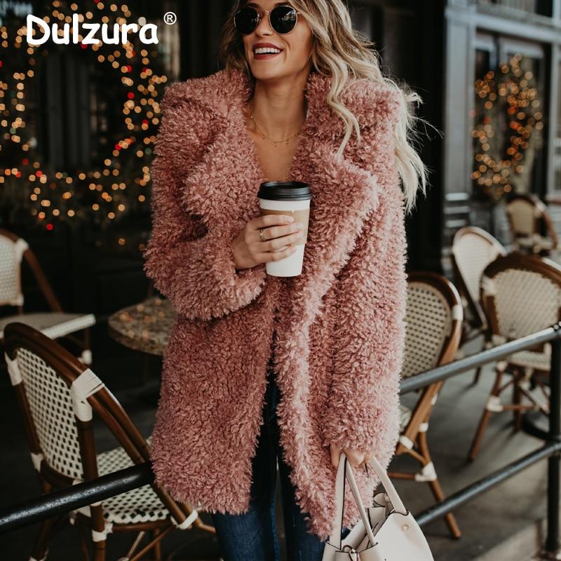 Fluffy Pink Teddy Faux Fur Coat Jacket Women Streetwear 2018 Fashion Winter Thick Warm Furry Overcoat Shaggy Outerwear Femme