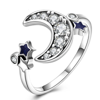 HERMOSA Genuine 925 Sterling Silver Party Jewelry Trendy Style Moon Star Design Ring For Women Adjustable