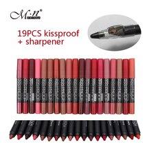 Kissproof menow 19 pçs/lote fosco batom + apontador de maquiagem de longa duração efeito mate suave batom powdery p13016 frete grátis(China (Mainland))