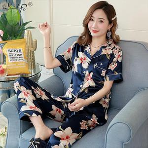 Image 5 - Floral Silk Pajamas Set Women Satin Sleepwear Short Sleeves Long Pants Sleep Suit Ladies Silk Pyjamas Home Clothing Nightwear