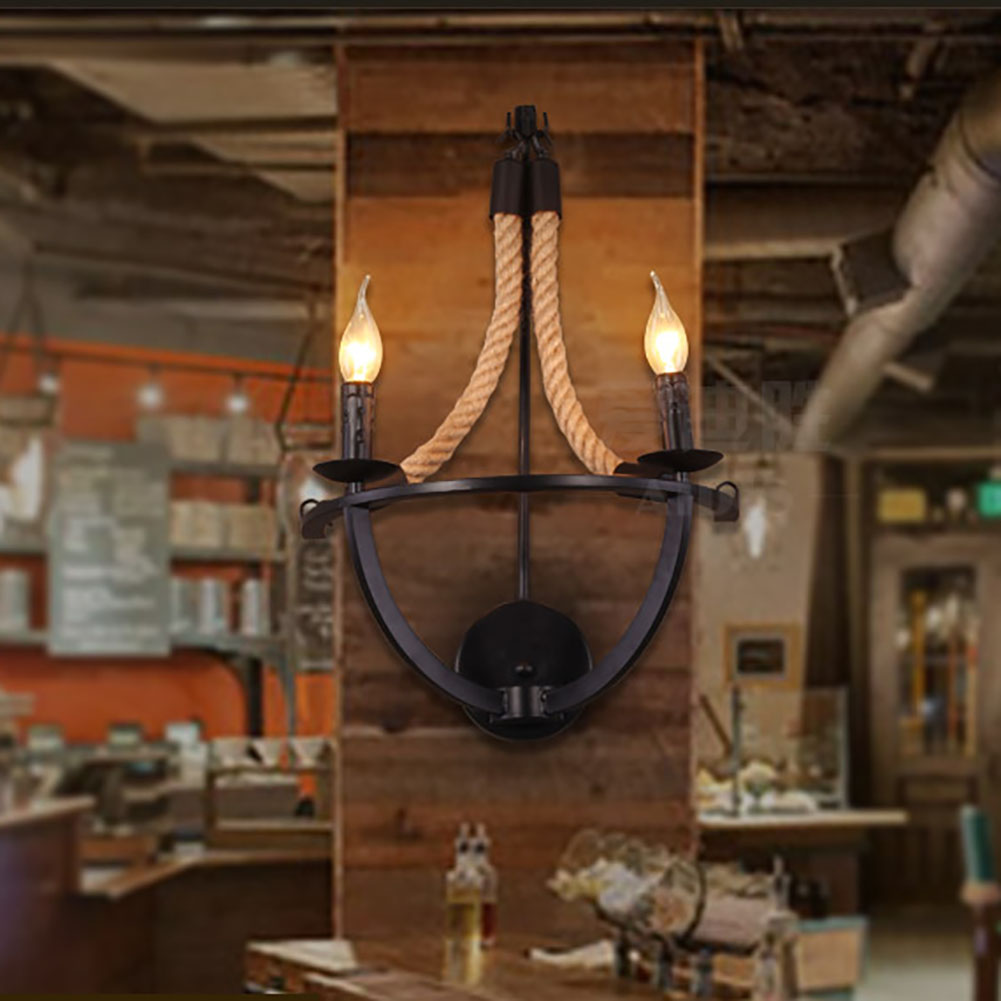 2 Arms candle wall lamps Iron vintage Hallway wall lamp E14 LED bulb Dining Room Bathroom wall sconce Home Lighting lamps wall lamp led lamps handicraft southeast asia amorous feelings vintage wooden bergamot wall lamp sconce home lighting