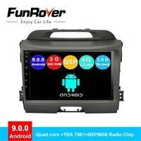 FUNROVER 2 din android 9.0 car dvd multimedia For Kia sportage 3 4 2010 2015 radio gps navigation system navi stereo vedio 2.5D
