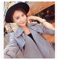 European and American autumn winter faux suede trench coat lapels women long coat trench