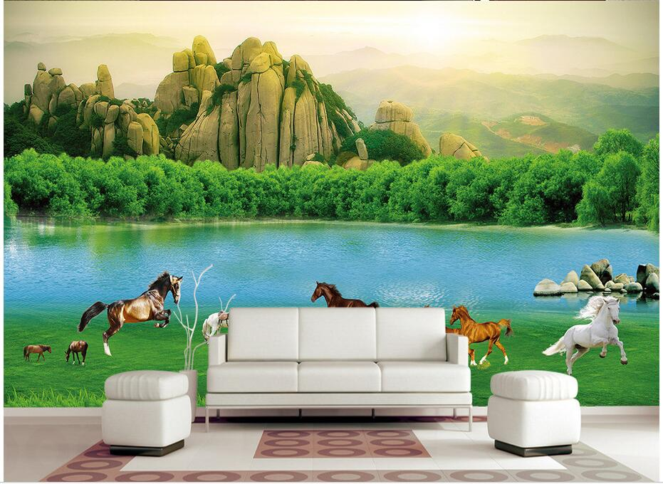 Custom photo 3d wallpaper Non-woven mural Prairie horses grassland green landscape 3d wall murals wallpaper for living room custom mural photo 3d wallpaper the sky and the clouds are ten horses painting 3d wall murals wallpaper for living room wall 3 d