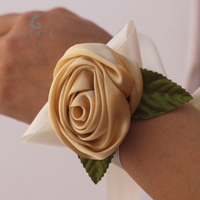 12pcs Ivory Artificial Silk Rose Wrist Corsage