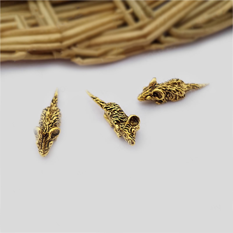 50PCS 17*5MM Antique Gold Zinc Alloy No Hole Small Mouse Diy Jewelry Findings Jewelry Accessories Wholesale