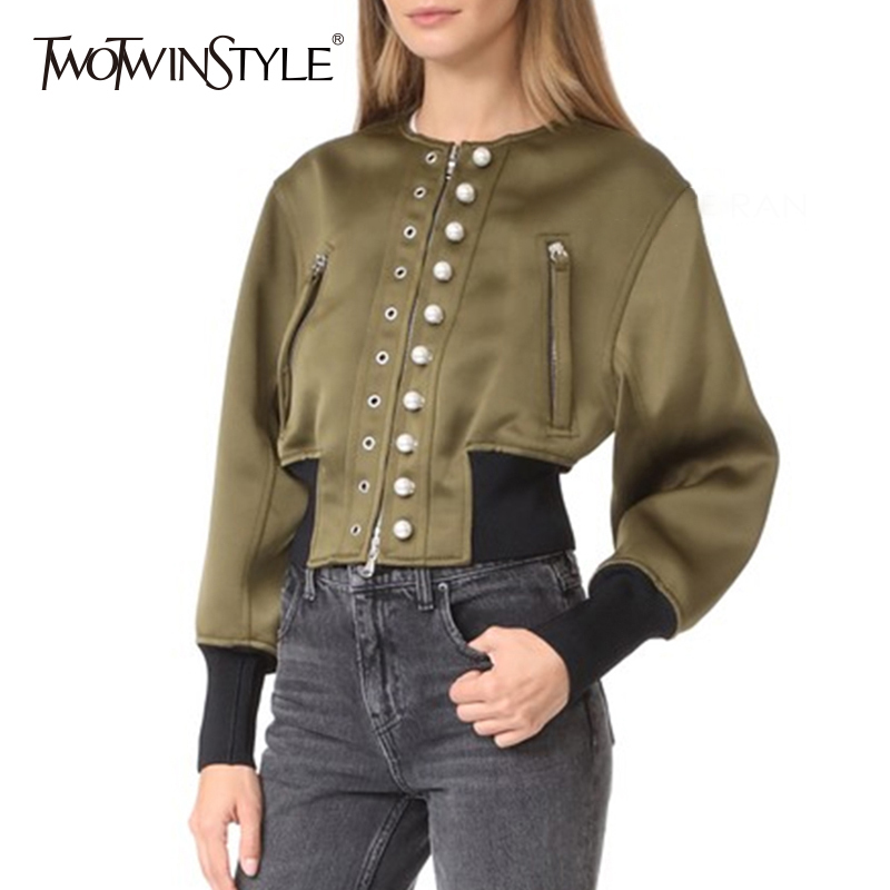 TWOTWINSTYLE Punk Style Jacket Tops Female Eyelet Pearl Long Sleeve Coat Women Casual Clothes Big Size