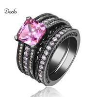 Punk Black Gold Plated Vintage Wedding Ring Sets For Women Pink Stone Fashion Party Rings Women