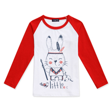 Limited Time Discount Girl Long Sleeve Tops Boy T Shirt For Child Rabbit Printed Fashion Color Block T-Shirt Children Clothing color block single pocket t shirt