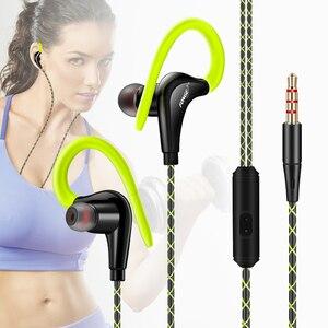 Image 1 - 원래 스포츠 이어폰 슈퍼베이스 헤드폰 모든 휴대 전화 xiaomi에 대 한 마이크 귀 후크와 Sweatproof 실행 헤드셋