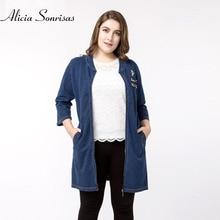 Women Plus Size 4XL 5XL Women Denim Jacket Spring Large Size Three Quarter Sleeve Diamonds Rivets Spring Jeans Jackets ZPZ03