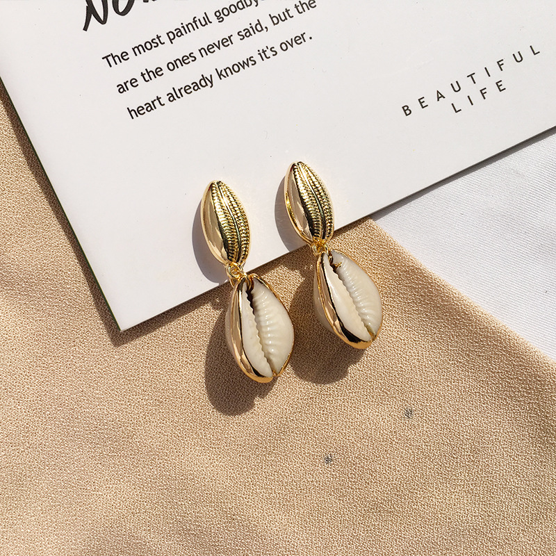 Bohemian Cowrie Sea Shell Drop Earrings For Women Vintage Summer Fashion Earrings Geometric Beach Statement Jewelry Wholesale