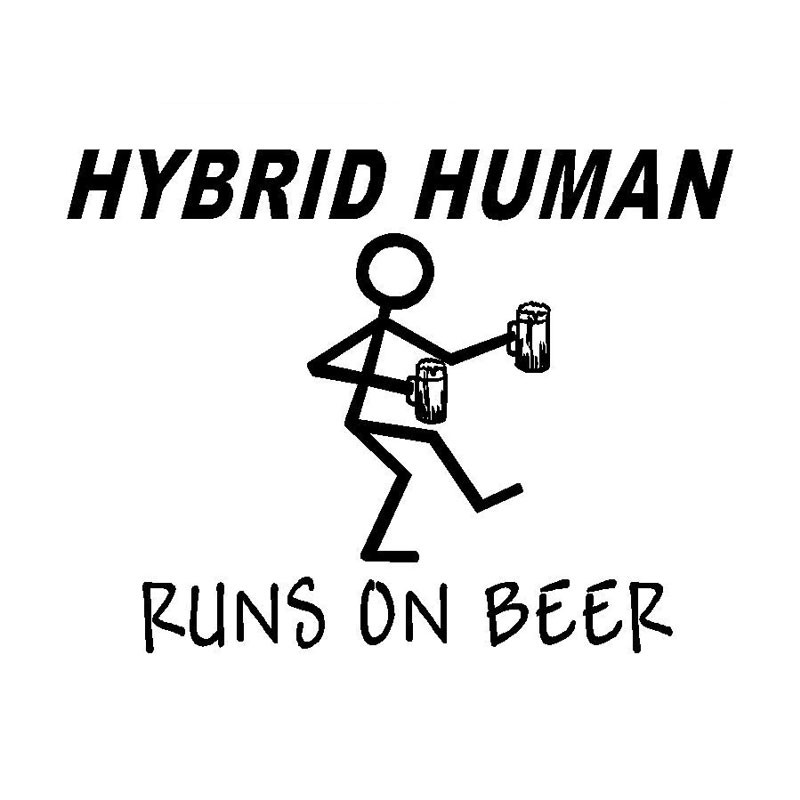 16 9cm 12 7cm Funny Car Decal Hybrid Human Runs On Beer Vinyl Sticker Styling Stickers Black Sliver C8 0497