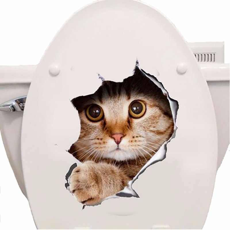 Cats 3D Wall Sticker Toilet Stickers Hole View Vivid Dogs Bathroom Home Decoration Animal Vinyl Decals Art Sticker Wall Poster