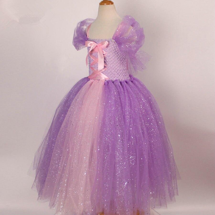 Tulle niñas Cosplay Rapunzel princesa vestido traje niños Masquerade ...