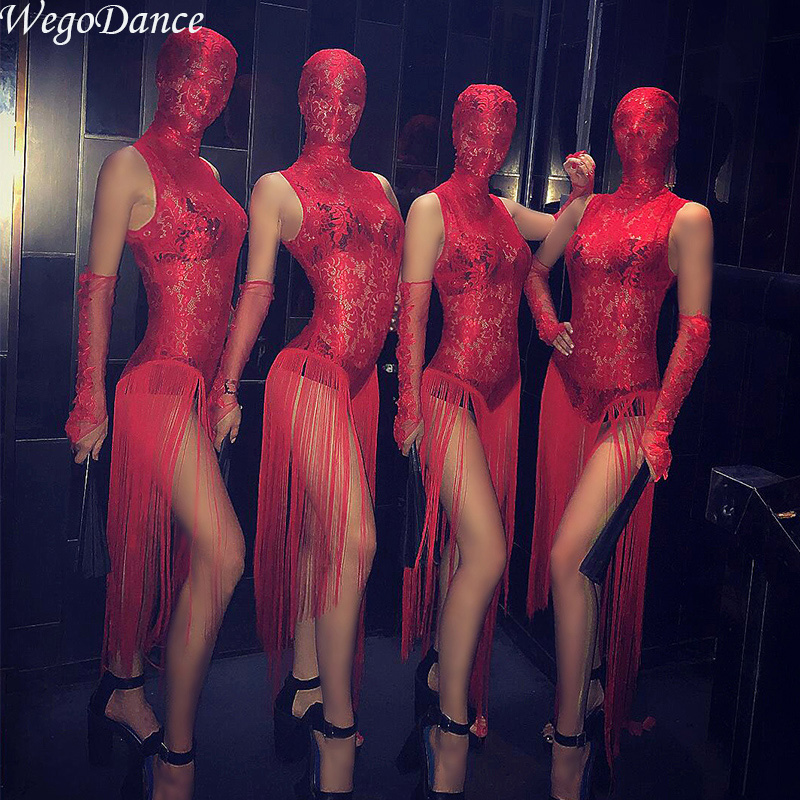 Sexy Gogo Lace Tassel Dress Perspective Red Chinese Style Bar Nights Ds Show New Nightclub Costume With Head Cover For Woman