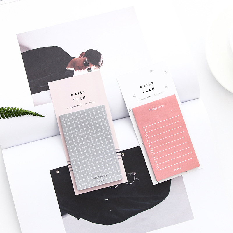 Cute Paper Sticky Notes Weekly Daily Planner Notebooks Concise Colors Grid Notebooks Office School Supplies Korean Stationery