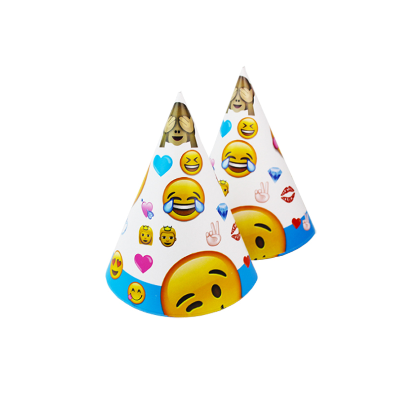 12pcs Birthday Party Decoration Cute Child Smiley Face Expression Cartoon Pattern Birthday Paper Hat Event Kids Party Supplies