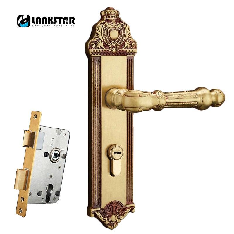 LANXSTAR serrure de porte en bois massif cuivre pur serrure de poignée Antique européenne silencieuse couleur or Rose serrure universelle en laiton d'intérieur