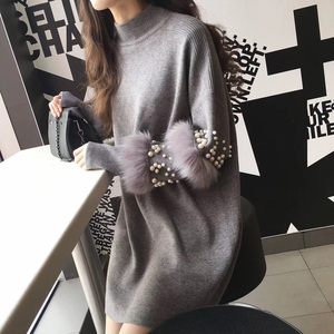 Image 2 - New Faux Fur Embellished Sleeve Sweater Long sleeve Jumpers with pearls Turtleneck Pull Casual Pullovers Jersey Mujer Invierno