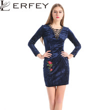 LERFEY Women Spring Autumn Vintage Sexy Dress Flower Emoboridery Blue Velvet  Lace V Neck Long Sleeve Bodycon Party Dresses 37aaff4d418c