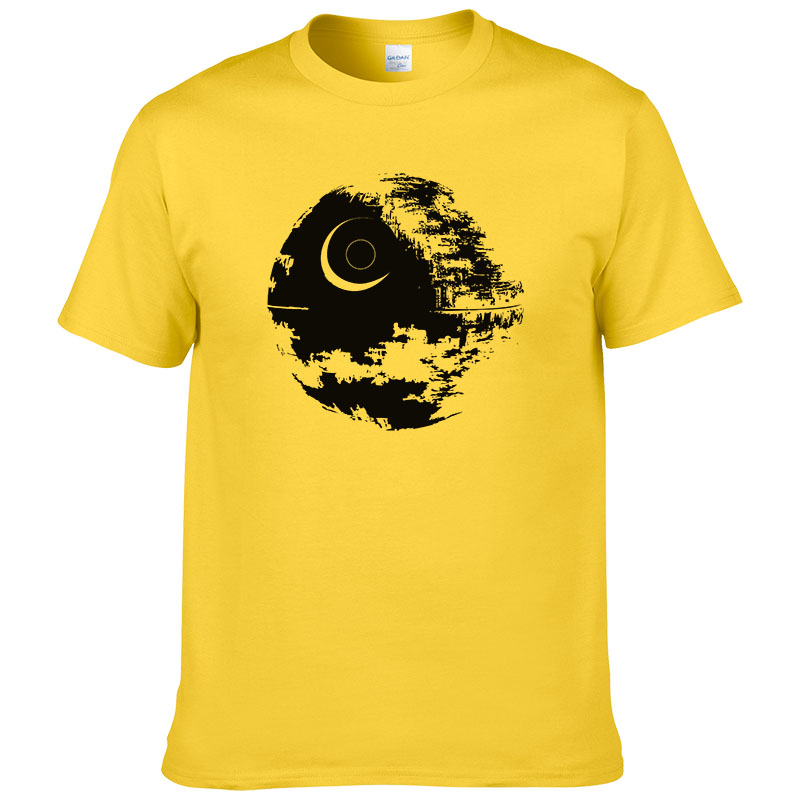 2017 Fashion Design Death Star   T  -  Shirt   Men's Star Wars   t     shirt   Summer short sleeves cotton Cool Tees Euro Size #264