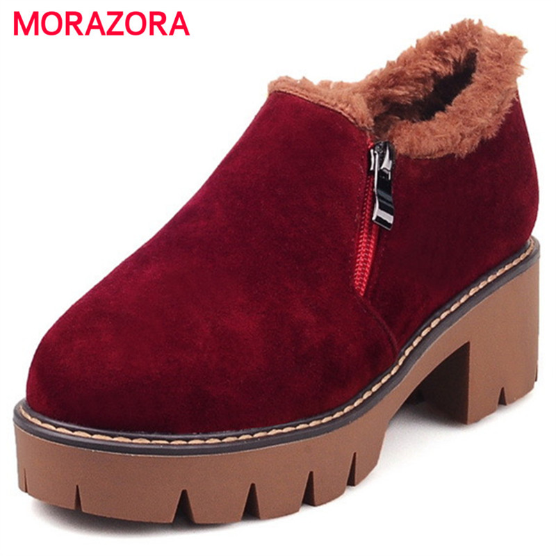 MORAZORA Big size 34-43 ankle boots med heels shoes woman early winter fashion boots flock warm comfortable platform boots big size 34 43 fashion rivets skid proof ankle boots square high heels platform shoes fall concise winter boots shoes woman