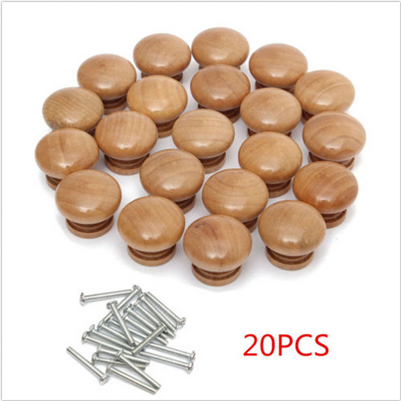 20pcs Round Wooden Knobs Door Drawer Cabinet Cupboard Pulls Knob Handle with Screw DIY Home Tools
