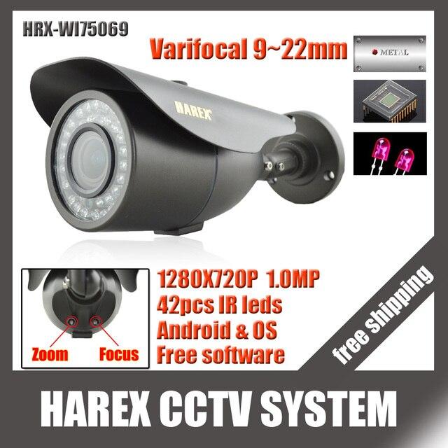 1280*720 P 1.0mp с 2mp 9 ~ 22 мм зум-объектив с переменным фокусным расстоянием IP Камера 42 ИК-светодиодов ONVIF водонепроницаемый ИК-plug and play, бесплатная доставка