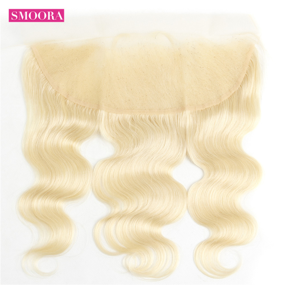 Smoora 613 Blonde Bundles with Frontal Peruvian Body Wave Blonde Human Hair Bundles with Pre Plucked Smoora 613 Blonde Bundles with Frontal Peruvian Body Wave Blonde Human Hair Bundles with Pre Plucked Frontal Ear to Ear Non Remy
